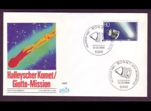 Bund 1273 Retuschen auf FDC Halleyscher Komet GIOTTO Mission 80 Pf postfrisch