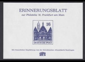 Erinnerungsblatt Philatelia 1981 Frankfurt am Main