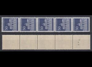 Bund 509 v RM 5er Streifen ungerade Nr verstümmelt Brandenburger Tor 50 Pf **