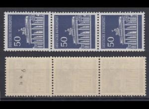 Bund 509 v RM 3er Streifen ungerade Nr. verstümmelt Brandenburger Tor 50 Pf **