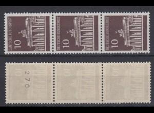 Bund 506 v RM 3er Streifen mit gerader Nr. Brandenburger Tor 50 Pf postfrisch