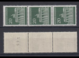 Bund 507 v Rollenmarke 3er Streifen ungerade Nummer Brandenburger Tor 20 Pf **