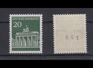 Bund 507 v RM mit ungerader Nummer Brandenburger Tor 20 Pf postfrisch