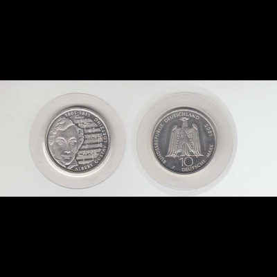 Silbermünze 10 DM 2001 Albert Lortzing Prägeanstalt F Stempelglanz (35)