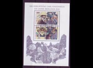 Bund Block 28 I mit Plattenfehler Carl Hagenbeck/Berliner Zoo ESST Bonn
