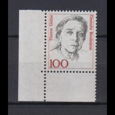 Bund 1390 Eckrand links unten Frauen der deutschen Geschichte 100 Pf postfrisch
