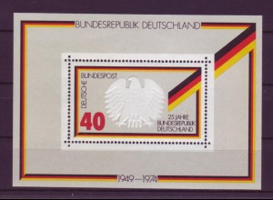 Bund Block 10 mit Doppeldruck 25 J. Bundesrepublik Deutschland 40 Pf postfrisch