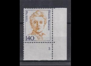 Bund 1432 Eckrand rechts unten mit FN 3 Frauen (X) 140 Pf postfrisch