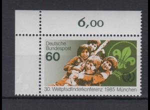 Bund 1254 Eckrand links oben Weltpfadfinderkonferenz München 60 Pf postfrisch