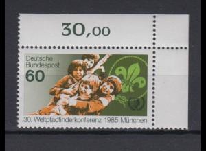 Bund 1254 Eckrand rechts oben Weltpfadfinderkonferenz München 60 Pf postfrisch