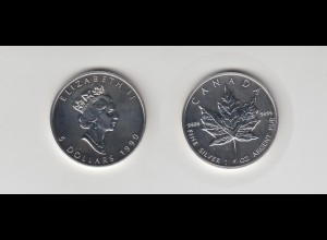 Silbermünze 1 OZ Kanada 5 Dollar 1990 Maple Leaf