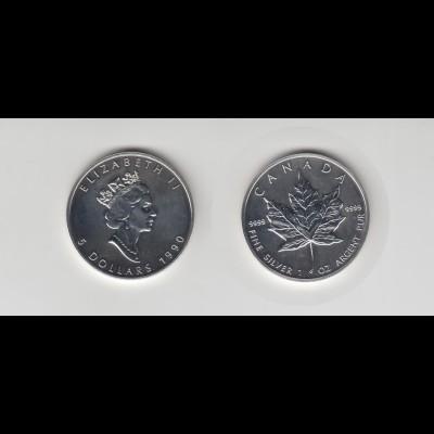 Silbermünze 1 OZ Kanada 5 Dollar 1990 Maple Leaf