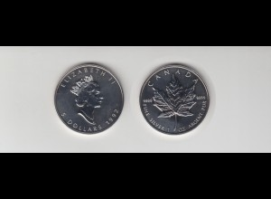 Silbermünze 1 OZ Kanada 5 Dollar 1992 Maple Leaf