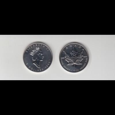 Silbermünze 1 OZ Kanada 5 Dollar 1992 Maple Leaf