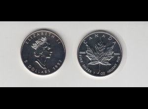 Silbermünze 1 OZ Kanada 5 Dollar 1993 Maple Leaf