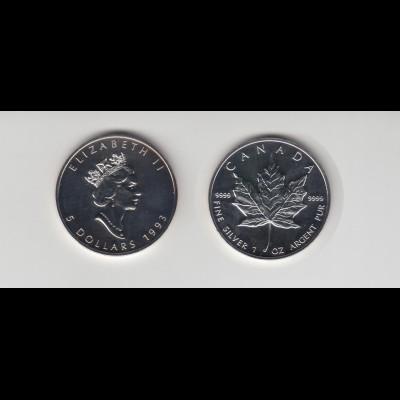 Silbermünze 1 OZ Kanada 5 Dollar 1993 Maple Leaf