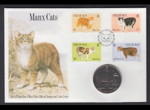 Numisbrief Isle of Man Manx Cats mit 1 Crown 1989