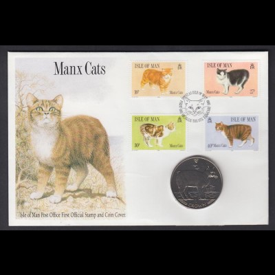 Numisbrief Isle of Man Manx Cats mit 1 Crown 1989