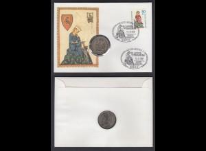 Numisbrief Bund 39. Landesverbandstag mit 5 Mark Walther v. d. Vogelweide 1980
