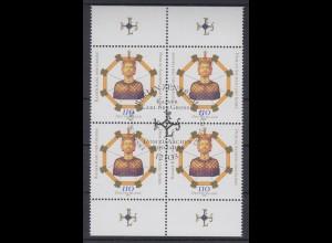 Bund 2088 4er Block mit Oberrand 1200 Jahre Aachener Dom 110 Pf ESST Berlin