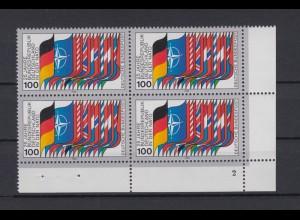 Bund 1034 4er Block Eckrand rechts unten FN 2 Zugehörigkeit zur NATO 100 Pf **