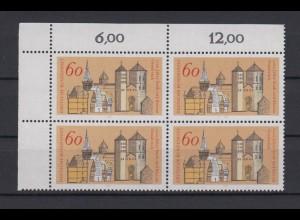 Bund 1035 4er Block Eckrand links oben 1200 J. Stadt Bistum Osnabrück 60 Pf **