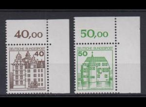 Bund 1037-1038 Eckrand rechts oben Burgen + Schlösser 40 Pf + 50 Pf postfrisch