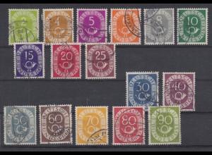 Bund 123-138 Posthorn 16 Werte kompletter Satz gestempelt /3