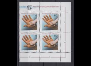 Bund 2027 Eckrand rechts 4er Block Internationales Jahr der Senioren 110 Pf **