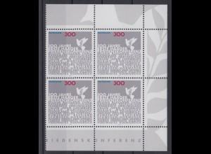 Bund 2066 Eckrand rechts 4er Block Erste Haager Friedenskonferenz 300 Pf **