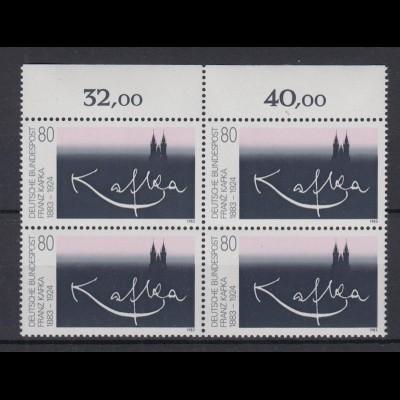 Bund 1178 mit Oberrand 4er Block Franz Kafka 80 Pf postfrisch