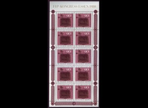 Bund 1065 FIP Kongreß 1980 60 Pf 10er Bogen postfrisch