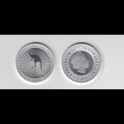 Silbermünze 1 OZ Australien Känguru 1 Dollar 2018 in Kapsel