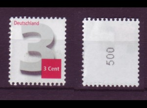 Bund 2964 Rollenmarke kleine Nr. 500 RA Ziffernzeichnung 3 Cent postfrisch