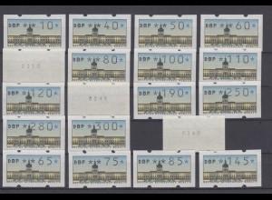 Berlin ATM 1 + 2 Versandstellensatz 19 Werte davon 3 Werte mit Nummer postfrisch