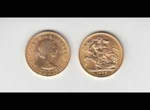 Goldmünze Großbritannien Elisabeth II. 1 Sovereign 1958