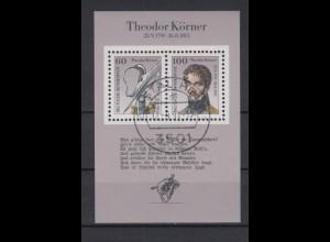 Bund Block 25 200. Geburtstag Theodor Körner 60 Pf + 100 Pf ESST 12.09.1991