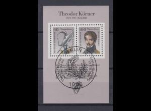 Bund Block 25 200. Geburtstag Theodor Körner 60 Pf + 100 Pf ESST Bonn 12.09.91