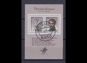 Bund Block 25 200. Geburtstag Theodor Körner 60 Pf + 100 Pf ESST Limburg