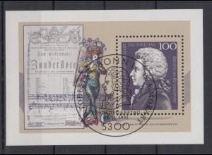 Bund Block 26 200. Todestag Wolfgang Amadeus Mozart 100 Pf ESST Bonn