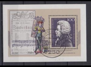 Bund Block 26 200. Todestag Wolfgang Amadeus Mozart 100 Pf ESST Limburg