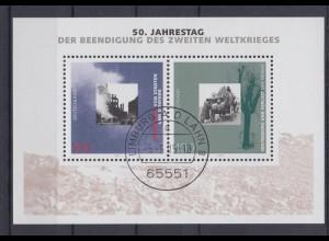 Bund Block 31 50. Jahrestag der Beendigung des 2.Weltkrieges 100 Pf ESST Limburg