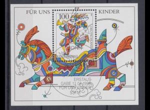 Bund Block 35 Für uns Kinder 100 Pf ESST Bonn 11.04.1996