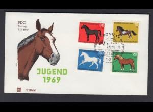 Bund FDC mit 578-581 Jugend Pferde mit ESST Bonn 6.2.1969