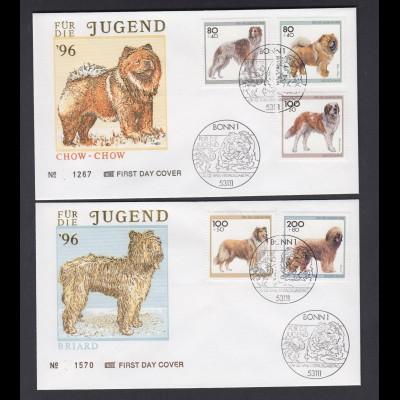 Bund 2 FDC`s mit 1836-1840 Jugend Hunderassen ESST Bonn 08.02.1996