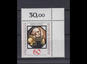 Bund 1036 Eckrand rechts oben Götz von Berlichingen 60 Pf postfrisch