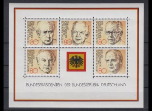 Bund Block 18 Bundespräsidenten der Bundesrepublik Deutschland 80 Pf postfrisch