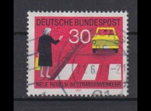 Bund 673 I mit Plattenfehler Neue Regeln im Starßenverkehr 30 Pf gestempelt /5