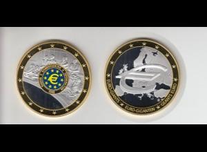 Medaille Euro Giganten Namensgebung mit Goldauflage 2009 mit Zertifikat PP /M201