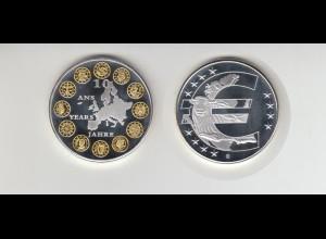 Medaillen 10 Jahre Euro Teilvergoldung mit Zertifikat PP 2008 /M27